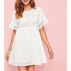 White Short Sleeve Guipure Lace Cut Out Dress